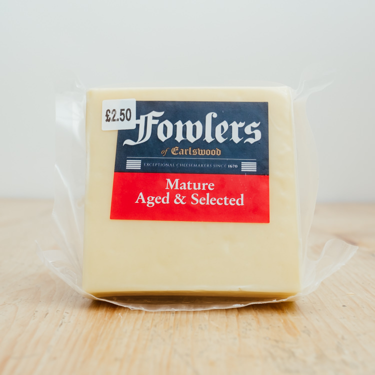 Hilltop Farm shop's product:Fowlers Mature Cheddar Cheese