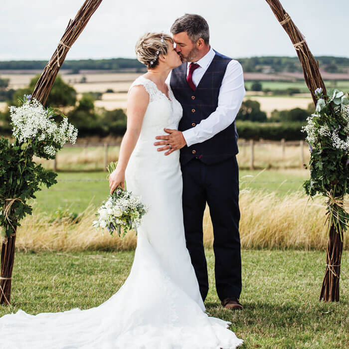 Bride & Groom Kiss - Hilltop Farm